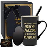 Inspirational Gifts for Men, Sometimes You Forget You're Awesome, Thank You Gift for Mom, Daughter, Sister, Aunt, Coworker - Coffee Mugs with Lid and Spoon 14oz