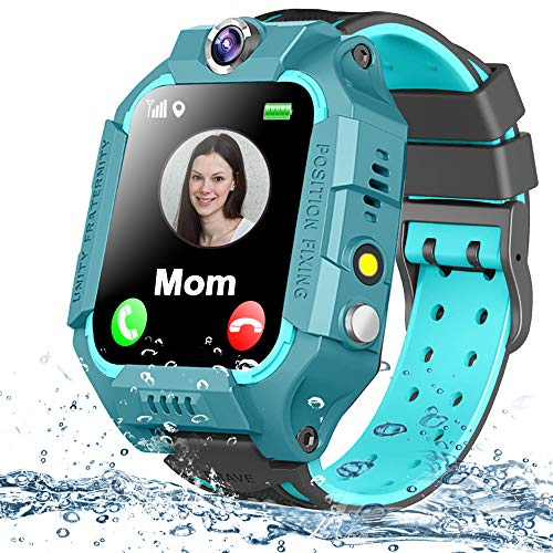 """Kids Smart Watch Phone Waterproof GPS Tracker for Girls Boys 4-12 Age, Kids Phone Watch with 2 Way Call SOS Emergency Alert Games Camera Flashlight 1.5"""" Touch Screen Birthday Gift"""