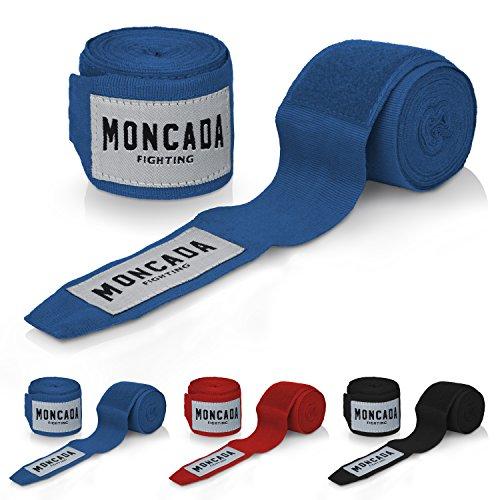 Moncada Fighting Boxbandagen mit Daumenschlaufe (4m) - Halb-Elastische Hand Boxbandage mit extra breitem Klettverschluss - Training Bandagen Set zum Boxen - MMA Boxing Bandage Sport (Blau)