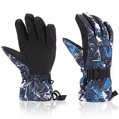 Ski Gloves, Yidomto Waterproof Warmest Winter Snow Gloves for Mens, Womens, Boys, Girls, Kids (Dark Blue-XXL)