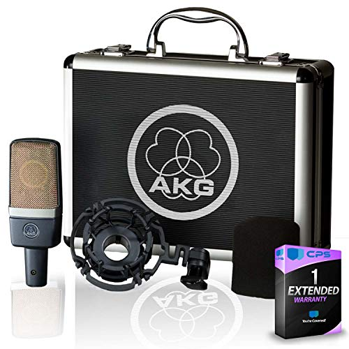 AKG C214 Large-Diaphragm Condenser Microphone with Shockmount, Carrying Case and 1-Year Extended Warranty