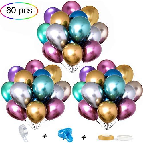 APERIL Luftballons länzende Metallic, Mehrfarbig-60Pcs Latex Helium Partyballons, Glänzende metallische Luftballons-Dekoration für Geburtstags-Hochzeits-Babyparty-Weihnachts-Kinderparty