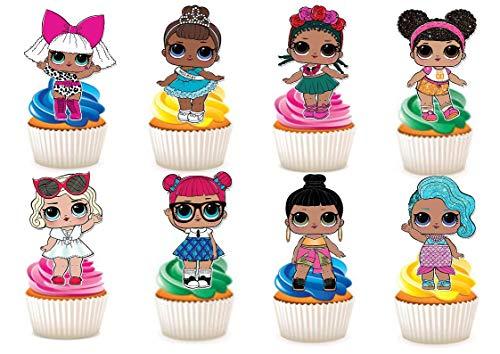 30 x LOL-Puppen-Charaktere, Party-Ständer, essbares Papier, Cupcake-Topper und Kuchendekorationen.