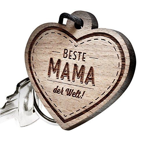 Preisvergleich Produktbild schenkYOU® Premium Schlüsselanhänger aus Nussbaumholz vorgraviert - personalisierte Geschenkidee - Gravur Beste Mama der Welt!