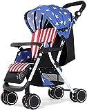 YZPDD Cochecito de bebé, Carro Infantil Ligero Plegable Plegable 4 Ruedas Suspensión recién Nacida Carro de Altura de Altura Ajustable (Color : C)