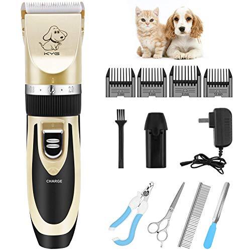 KYG Kit Tosatrice Professionale per Cani Tagliacapelli Animali Gatto Ricaricabile Tosatore Elettrico 4 Pettine Testina Regolabile