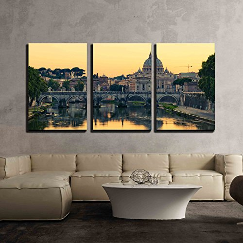 """wall26 - 3 Piece Canvas Wall Art - Evening View at St. Peter's Cathedral in Rome, Italy - Modern Home Art Stretched and Framed Ready to Hang - 16""""x24""""x3 Panels"""