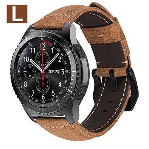 MroTech pulseira de couro genuíno compatível para Samsung Galaxy engrenagem S3 Frontier / Classic, Galaxy Assista 46mm, PEBBLE Time, LG G Assistir / R / Urbano, Amazfit Paz, fóssil q 22mm Bracelet (Khaki, Grande)