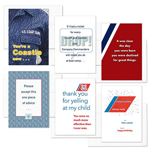 2MyHero - US Coast Guard - Enlisted Boot Camp Mixed Pack of 6 - Military Graduation And Appreciation Greeting Cards With Envelopes - 5' x 7' - Coastie Mixed Pack