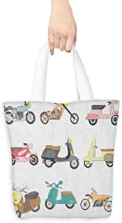 Tote bag,Doodle A Variety of Scooters in Cute and Pleasant Design Bike Riding Wheels Transportation,Canvas Grocery Shopping Bags with Handles,16.5