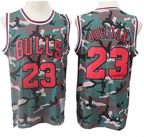 GSPURS Michael Jordan # 23 Chicago Bulls Camouflage-Trikot, Cooles, atmungsaktives Retro-Swingman-Sport-T-Shirt, Basketball-Fanuniform für Damen-3-XL