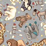 Nursery Fabric, by The Yard, Toyland Animal Toss w/Sock Monkey, QT Fabrics, 27777K Gray, Quilting Cotton BTY