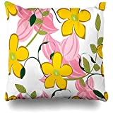Heekie Funda de cojín Throw Pillow Cover Elegance Blue Floral Pattern Nature Brown Green Classic Drawing Effect Design Decorative Pillow Case Decor Square Size 18x18 Inches Home Pillowcase
