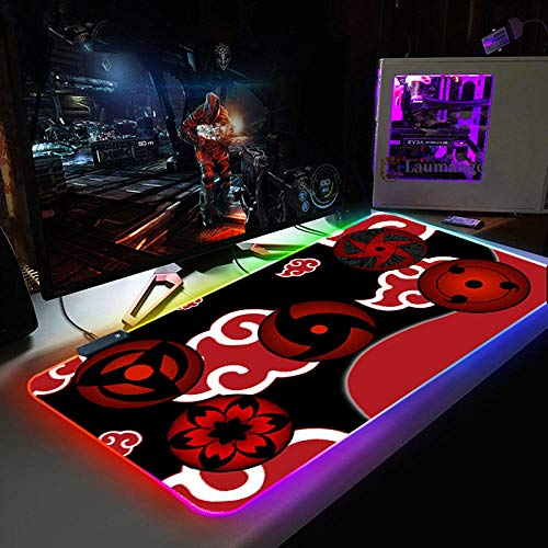 Mouse Pads Naruto Anime Cloud RGB Gaming Mouse Pad Mat - Soft Non-Slip Rubber Base Led Light up Mousepad, Computer Keyboard Mice Mat for PC, Laptop, Desk 11.81'x27.56'