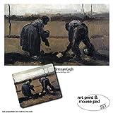 1art1 Vincent Van Gogh, Campesino Y Campesina Plantando Patatas, 1885 1 Póster Impresión Artística (80x60 cm) + 1 Alfombrilla para Ratón (23x19 cm) Set Regalo