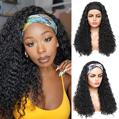 ROSEBONY Headband Wigs Curly Hair for Black Women Curly Wave Wigs with Headband Synthetic Water Wave Wig 22 inchs Long Black Wig