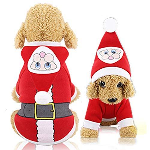 Haonike Ropa para Mascotas Suave Engrosamiento Cute Santa Snowman Ropa para Perros Suministros para el Cuidado de Animales