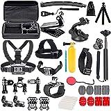 YHTSPORT - Kit de accesorios de cámara de acción para GoPro Hero 9 8 Max 7 6 5 4 negro, GoPro 2018, Session Fusion, plata, blanco Insta360 DJI SJCAM APEMAN AKASO y otras cámaras (29 en 1)