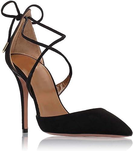 XLY Femmes Classique Classique Stiletto Talon Haut Croix Robe à lanières Sandales Pompes Escarpins Bout Pointu Faux Daim Chaussures de soirée de Mariage,noir,46