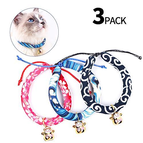 KITAINE Katzenhalsband mit Glöckchen für Kätzchen, Welpen, Haustiere, im japanischen Kimono-Stil, verstellbar, 3 Stück, M, 3colors01