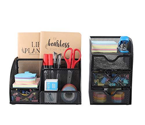 EasyPAG, Schreibtisch-Organizer aus Metallnetz, 2-teiliges Set – vielseitiger Stifthalter und 3 Ebenen, kleine Schublade, Bürobedarf, Aufbewahrungsbehälter Schwarz