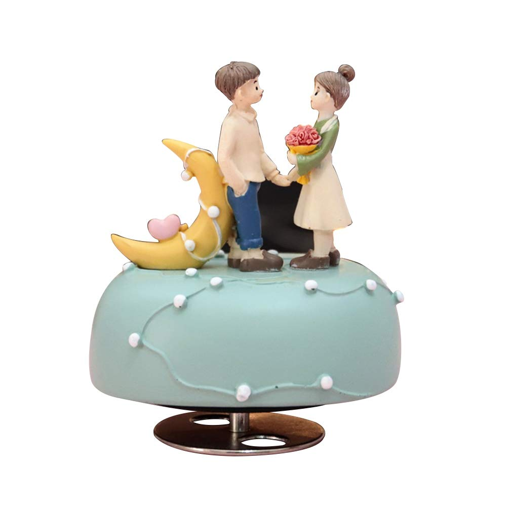TEEKOO Caja de música de San Valentín de Resina, Tipo Reloj, Caja de música, Figuras para Regalo de cumpleaños, decoración del hogar: Amazon.es: Coche y moto