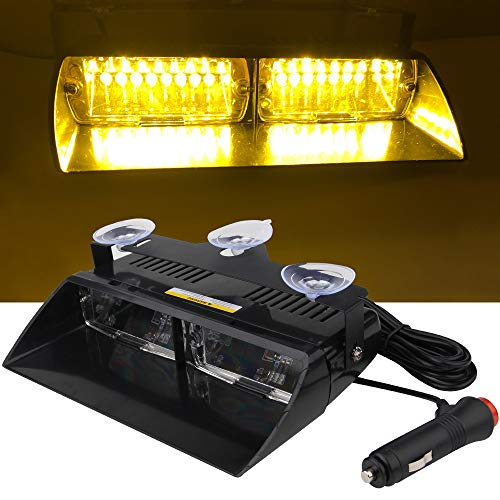 16 LED Luz estroboscópica de advertencia de emergencia Parabrisas 12V Vehículo Vehículo SUV Interior Roof Dash Parabrisas con ventosas (amarillo)