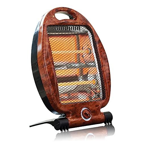 Radiador de cuarzo halógeno por infrarrojos 400W - 800W - Calefactor auxiliar para baño - 2 niveles de potencia - Protección contra sobrecalentamiento - Aspecto nudo de olmo - Madera