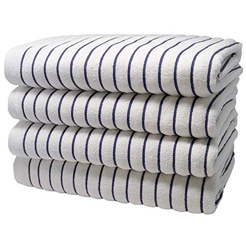 Brazilian Beach/Pool Towel - Ultimate Luxury XL 36x70 100% Cotton Absorbent Wave (4 Towels, Navy)