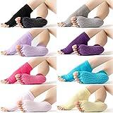 8 Pairs Yoga Socks Half Toe Non-slip Grip Yoga Socks Pilates Socks for Women Girls, 8 Colors