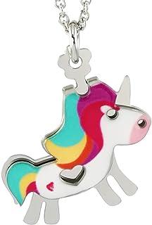 Mokilù Unicorno Collana con colori smaltati a caldo. Gioiello Double Face con rivoluzionario sistema che si muove Brevetta...