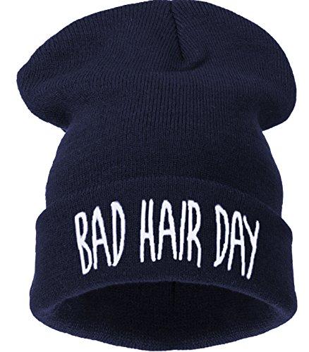 4sold Beanie Mütze Hat Mütze Bad Hair Day Fuckin Problems Comme des Fuckdown.Hit Neu 200 Models (bhd Navy blau - weiß)