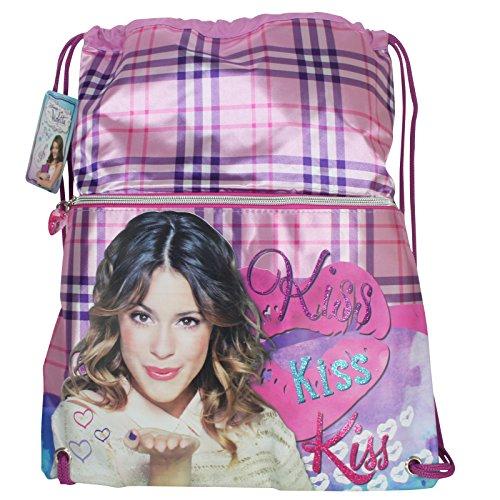SACCA VIOLETTA Disney Zaino borsa a sacco KISS con Tasca frontale 41x34