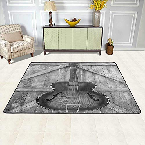 Carpet Western, Acoustic Instrument Guitar Soft Carpet Decorative Floor and Best Gift for Children 4 x 4 Feet