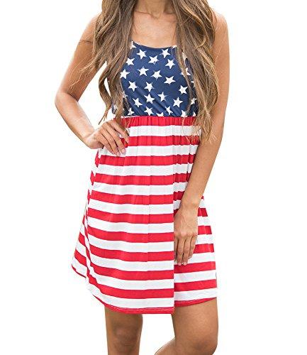 Imily Bela Women's Sleeveless Floral Print Stars and Stripes Racerback Midi Tank Dress USA Flag Blue