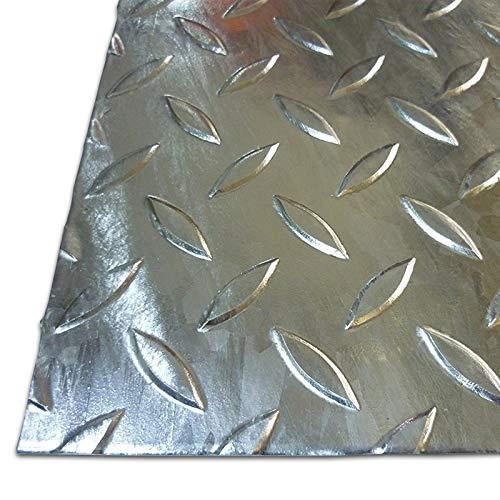 B&T Metall Stahl Tränen-Blech verzinkt, Eisen St 37 | 3,0 mm stark | Riffel-Blech als Zuschnitt Größe 600 x 600 mm (60 x 60 cm)