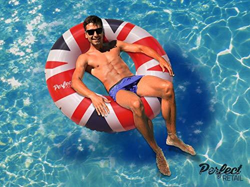 Perfect Pools Offizielle Aufblasbare Riesen Union Jack Flagge Gummiring | Schwimmbecken UK Flag Float 110 cm