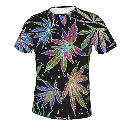 Men's Shirts Short Sleeve Undershirt Tees Hip-Pop Pullover Workwear Colorful Neon Pot Leaf Weeds Party M