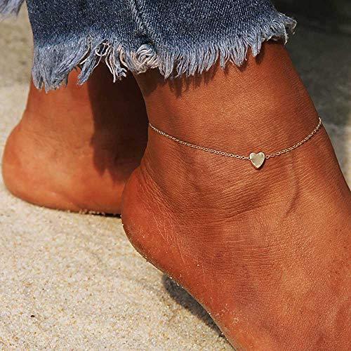 Edary Beach Hart Enkel Eenvoudige Enkel Armband Mode Voet Sieraden voor Vrouwen en Meisjes Goud
