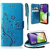 AROYI Lederhülle Kompatibel mit Samsung Galaxy A22 4G / M22 4G Hülle & Schutzfolie (Nicht für 5G), Flip Wallet Handyhülle PU Leder Tasche Hülle Kartensteckplätzen Schutzhülle Blau