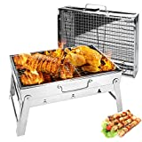 Folding Charcoal Barbecue Grill Intsun Portable Hibachi Grill Yakitori Grill Heavy Duty Stainless Steel, BBQ Tool Kits for Outdoor Camping Cooking Traveling Patio Picnics Beach, 16.8 X 11.3 X 9.2''