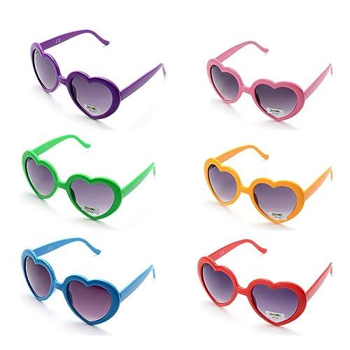 6dd67847ea Onnea fashion 6 Neon Colors Heart Shape Party Favors Sunglasses
