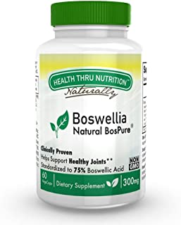 Boswellia BosPure® 75% Boswellic Acids (10% AKBA - High Potency), NON GMO 300mg 60 Vege-Capsules