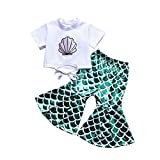 Toddler Baby Girls Mermaid Outfit Shell Print T Shirt...