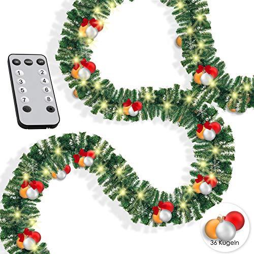 KESSER® Weihnachtsgirlande 10m mit Beleuchtung 200 LED\'s inkl Deko Fernbedienung - Timer - Lichterkette 7 Leuchteffekte - Weihnachtsbeleuchtung - In & Outdoor - Tannen-Girlande Weihnachtsdeko