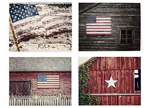 Farmhouse Home Decor American Flag Set of 4 5x7
