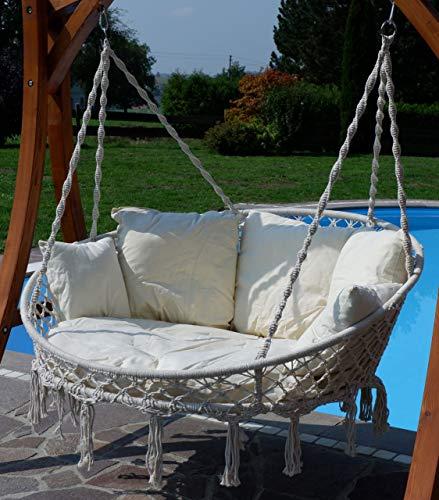 Hängesessel Hängelounger Doppellounger Lounge für 2 Personen Maui mit vielen Kissen klappbar inkl. Hollywoodschaukel - Gestell Aruba mit Dach von AS-S - 3