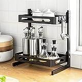Gewürzregal, Edelstahl Gewürzregal, Küchenarbeitsplatte Organizer, robust und langlebig, maximieren Küchenraum, einfach zu montieren (2 Etagen)