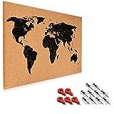 Navaris tablero de notas de corcho - tablero mapa del mundo 60x40 cm - en diseño de mapamundi - con...