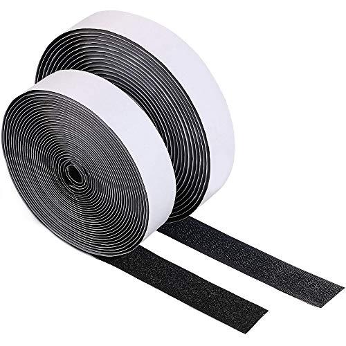 Belcro Adhesivo Fuerte,25m Hook y Loop Bandas Autoadhesivo Belcro doble cara Rollo de Cinta de Velcro y Gancho,para el Trabajo de Bricolaje (Black)